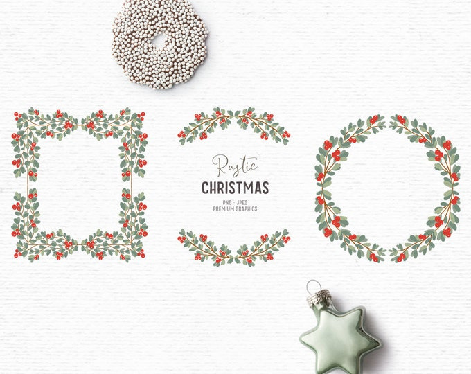 Featured listing image: Digital hand-drawn Christmas clipart