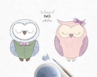 Digital hand drawn owl clipart