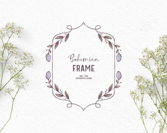 Digital hand drawn floral frame clipart in blue