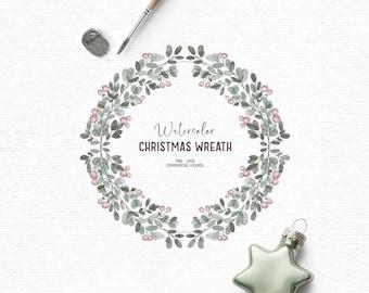 Digital watercolor Christmas clipart