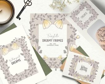 Digital vintage floral frame clipart