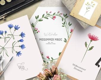 Romantic watercolor flower clipart