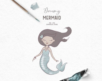 Digital hand drawn mermaid clipart in turquoise