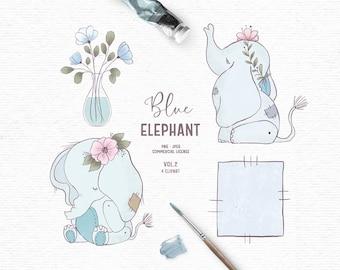 Digital hand drawn baby elephant clipart in blue