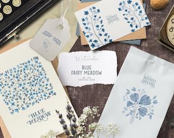 Blue watercolor flower clipart