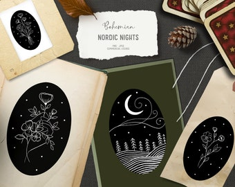 Digital mystical hand drawn clipart. Vintage boho clipart for cards. Black and white flower clipart. Boho floral clipart. Doodle clipart