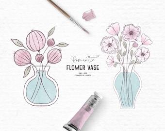Digital hand drawn flower vase clipart in pink