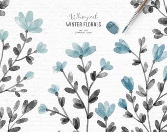 Digital watercolor floral clipart