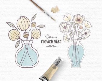 Digital hand drawn flower vase clipart in yellow