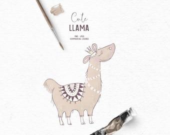 Digital hand drawn cute llama clipart in brown