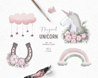 Digital hand drawn unicorn clipart in pink