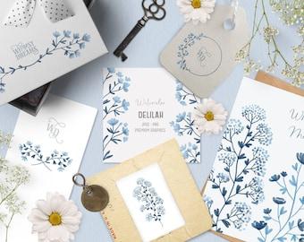 Romantic blue watercolor flower clipart