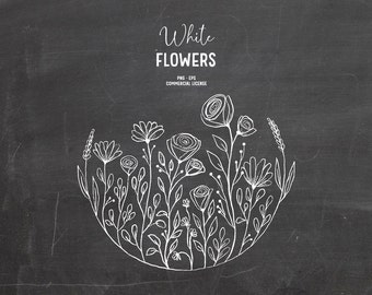 Digital hand drawn flowers clipart in white