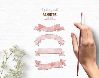 Digital watercolor banner clipart