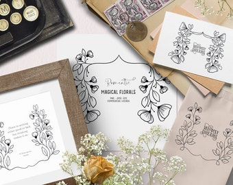 Digital stamps with vintage flowers