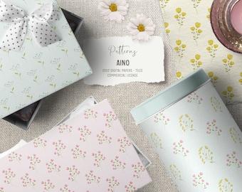Cute flower digital paper pack