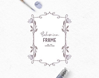 Digital hand drawn flower frame clipart in blue