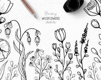 Digital hand drawn floral clipart