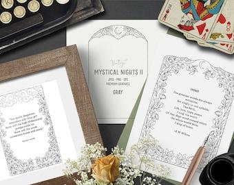 Digital mystical flower frame clipart in gray