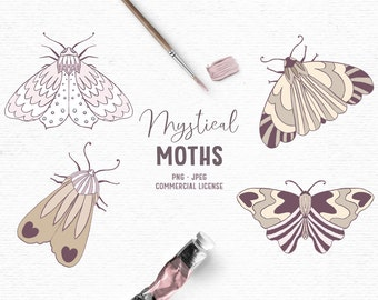 Digital hand drawn boho clipart with moths in pink and brown