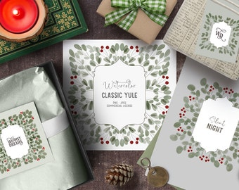 Digital hand drawn watercolor Christmas clipart. Rustic winter clipart with vintage illustrations. Rustic Christmas watercolor clipart files