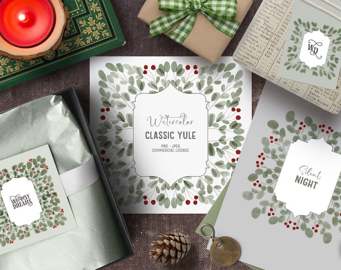 Featured listing image: Watercolor Christmas clipart