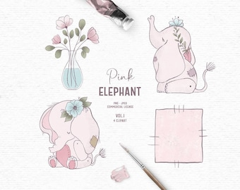 Digital hand drawn baby elephant clipart in pink