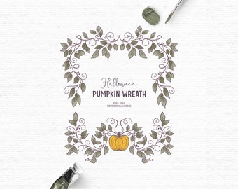 Digital Halloween wreath clipart