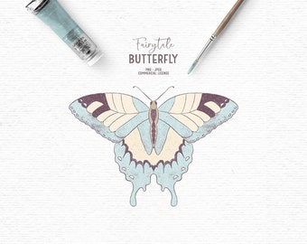 Digital hand drawn rustic butterfly clipart in turquoise