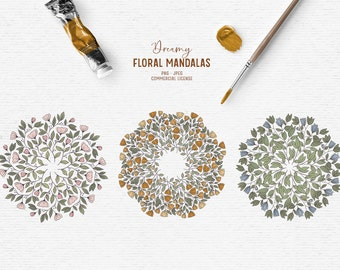 Digital hand-drawn floral mandala clipart