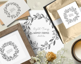 Digital stamps with whimsical flowers