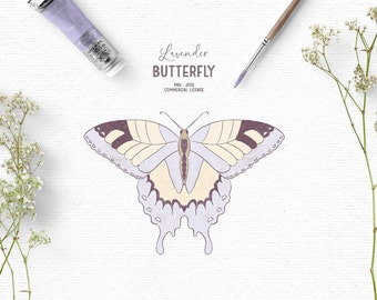 Digital hand drawn rustic butterfly clipart in purple