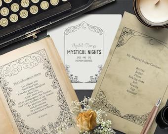 Digital mystical flower frame digital stamps