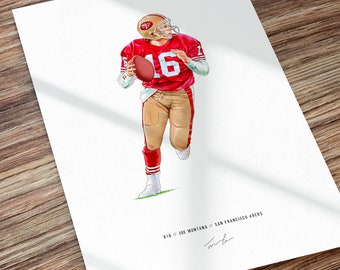 Joe Montana San Francisco 49ers Illustration Football Print Poster Art
