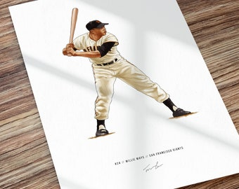 Willie Mays San Francisco Giants Illustrated Baseball Print Poster Art