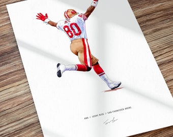 Jerry Rice San Francisco 49ers Super Bowl Touchdown Illustrated Print Poster Art