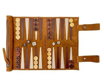 Melia Games Backgammon for rolling the finest nubacter real leather with handmade wooden game stones - Color: Whiskey