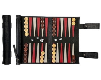 Melia Games Backgammon for rolling the finest nubact real leather with handmade wooden game stones - Colour: Black