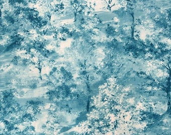 Woodland Upholstery Fabric by the Yard, Watercolor Trees Misty Forest Painting Art Print Home Decor Sofa Chair Tapestry Furniture Fabric