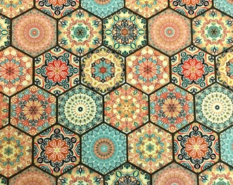 Turkish Moroccan Upholstery Fabric by the Yard, Ethnic Hexagon Honeycomb Mosaic Tiles Print Oriental Home Decor Chair Sofa Furniture Fabric