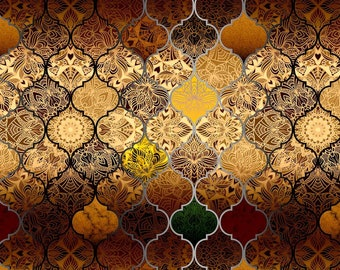 Moroccan Upholstery Fabric by the Yard, Brown Gold Ombre Trellis Tiles Print Luxury Retro Oriental Home Decor Chair Sofa Furniture Fabric