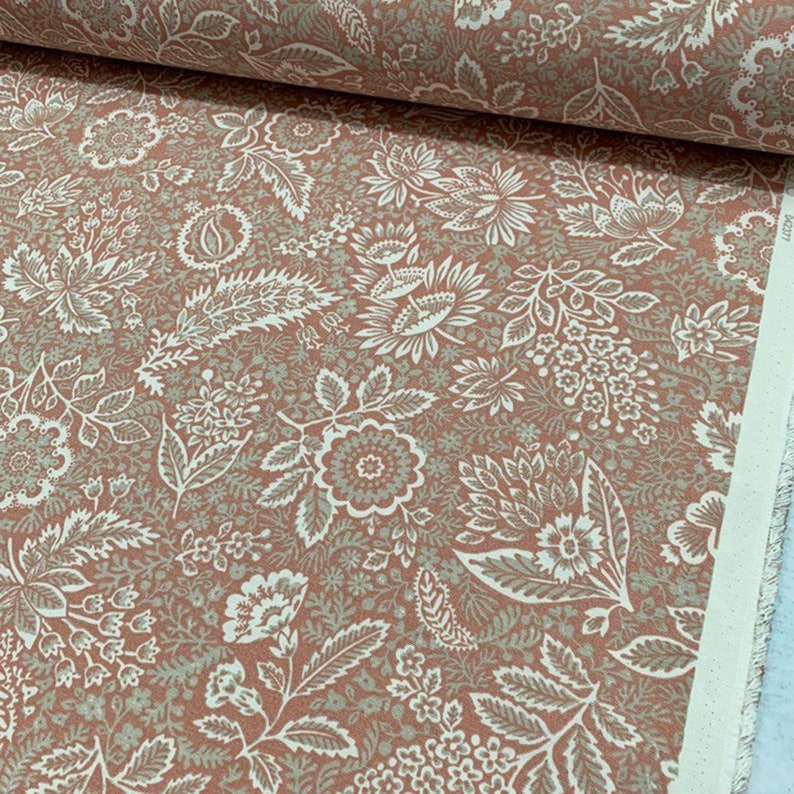 Boho Flowers Canvas Fabric Cushion Curtain Chair Sofa Upholstery Fabric by Yard Floral Dusty Rose Water Resistant Cotton Outdoor Fabric