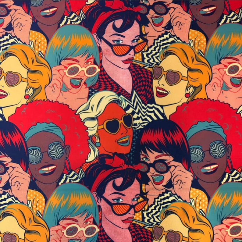 Colorful Retro Pin Up Girl Afro Woman Comic Print Decor Tapestry Furniture Chair Sofa Upholstery Fabric Pop Art Women Fabric by the Yard
