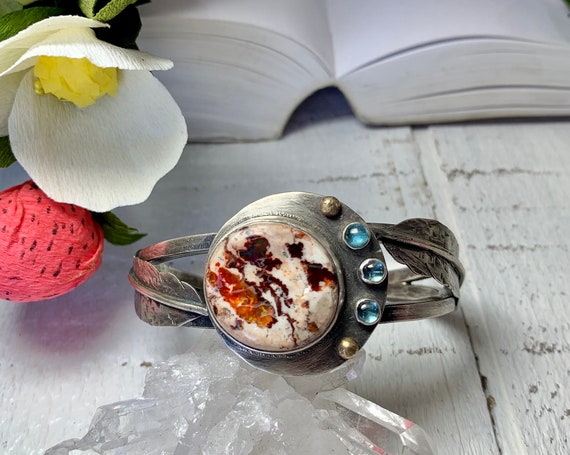Moon and feather cuff bracelet