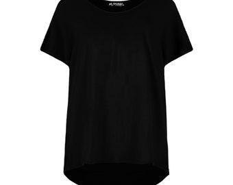 Women Ladies Round Neck LA FEMME Leopard Lips Batwing Oversize Baggy Top T Shirt