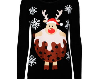 Reindeer Christmas Tee Long Sleeve Crewneck Tee Reindeer Snowflakes Shirt Christmas T-Shirt Comfy Christmas Tee 11467