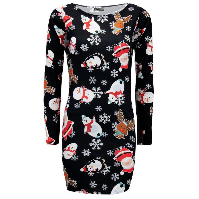 Ladies Christmas Bodycon Womens Xmas Santa Reindeer Rudolph Snowflake Mini Dress
