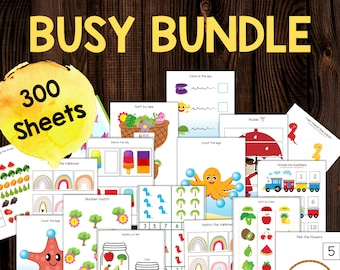 Busy Books for Toddlers, Busy Book Printable Worksheets Set, Toddler Busy Book Printable, Learning Folder for Toddlers, Busy Book 3 year old