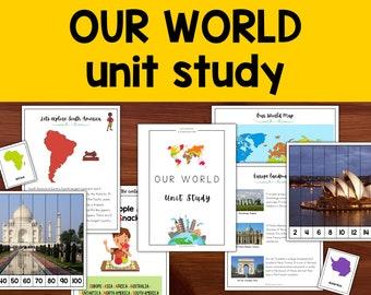 Our World Unit Study, Seven continents and world landmarks, Homeschool Learning Curriculum for Preschool, Kindergarten, First, Second Grade