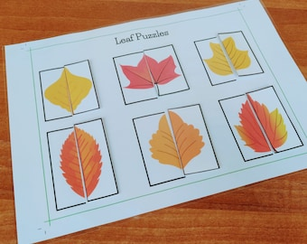 Autumn Fall Leaf Printable Puzzle, Leaf Matching Activity, Printable Busy Book Page, Preschool Learning, File Folder Game, PreK Busy Binder